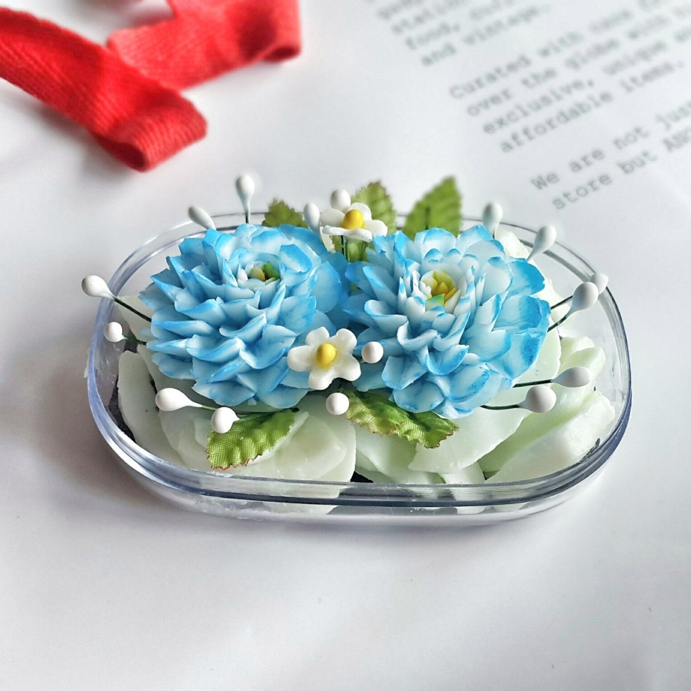 Double blue zinnia flowers hand carved in soap bar with jasmine picture of double blue zinnia flowers hand carved in soap bar with jasmine aroma essential oil izmirmasajfo