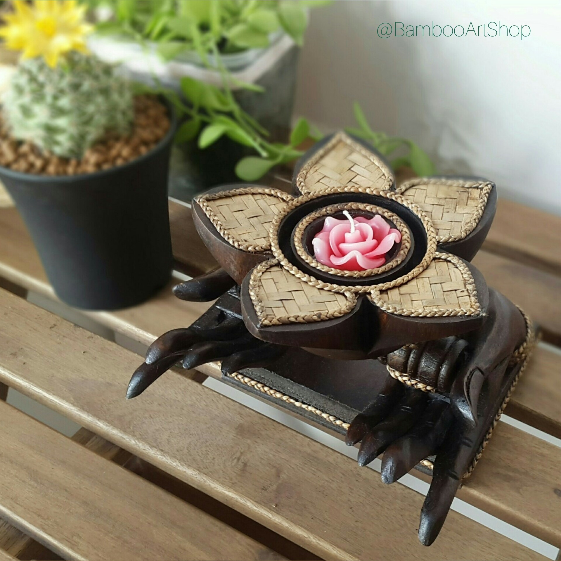 Picture of Tealight Candle Holder of Buddha Hands Holding a Lotus Flower, Natural Hand Crafted Thai Wood Carving, Free Flower Tealight Candle Included