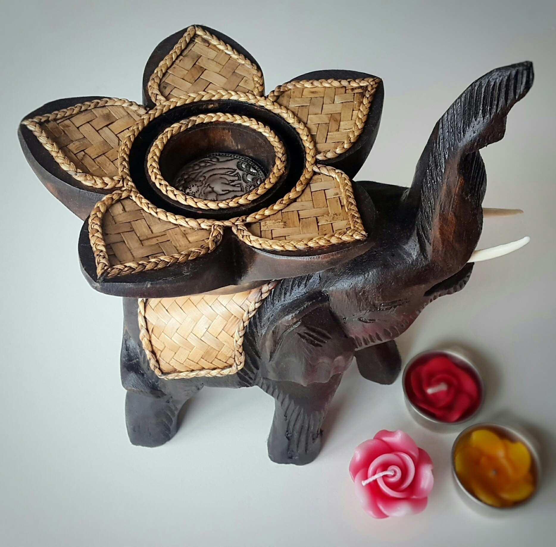 Tealight Candle Holder Elephant With Trunk Tusks And Lotus Flower