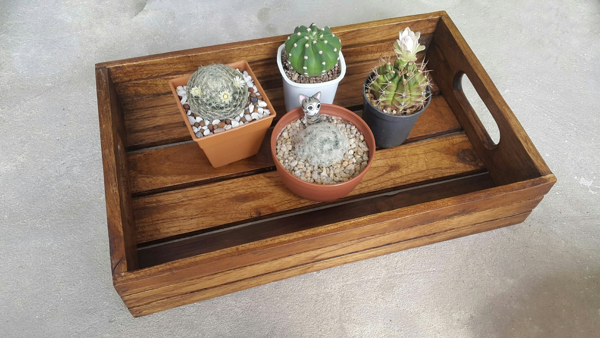 Picture of Wooden Service Tray for Home and Garden, Rectangular Oak Finish