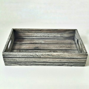 Picture of Wooden Service Tray, Rectangular Antique Grey Vintage