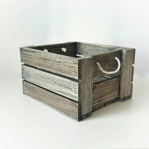 Picture of Wooden Service Tray with Rope Handles, Square Box Vintage Grey