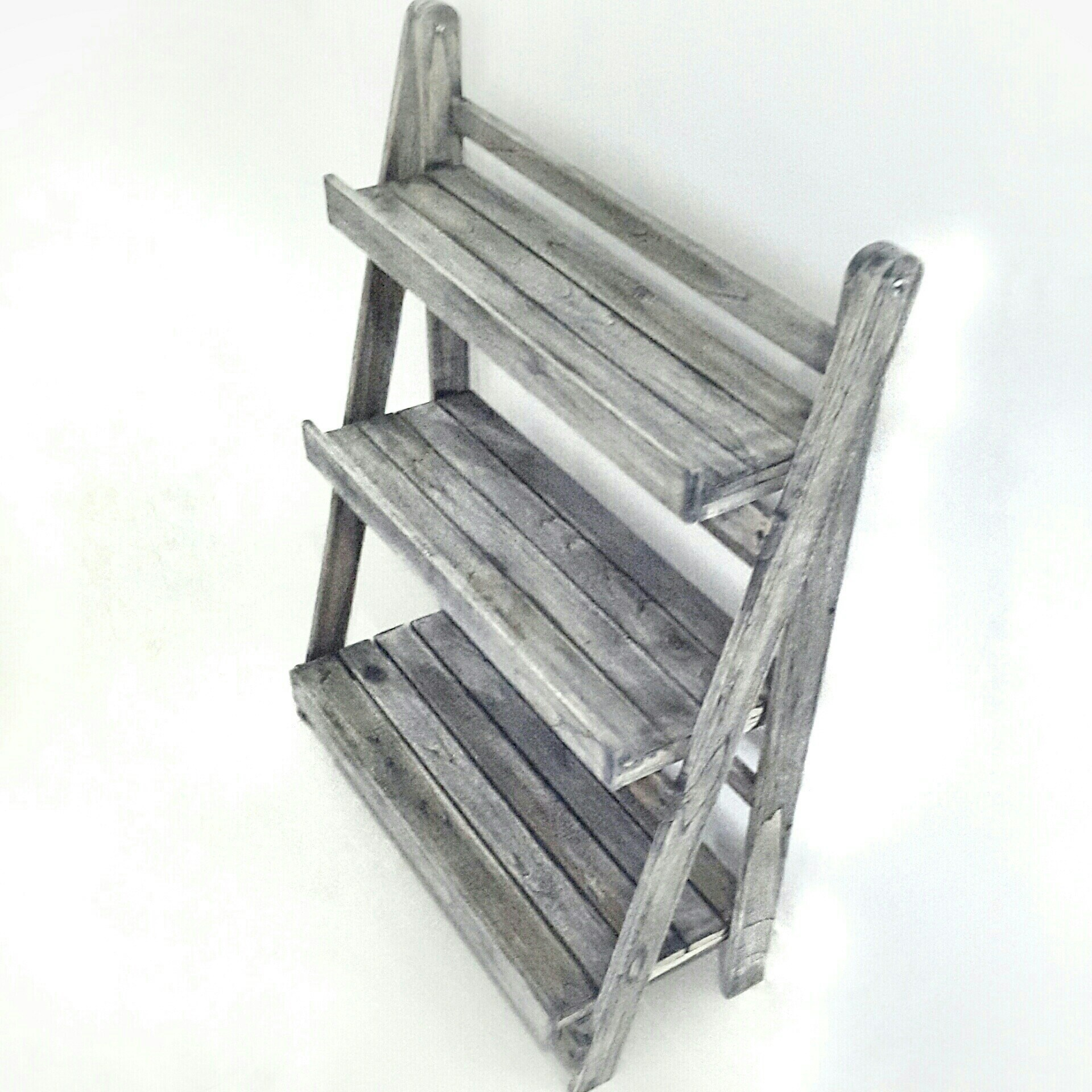 Picture of Foldable Three Tier Plant Theatre Stand, Teak Wood Vintage Grey