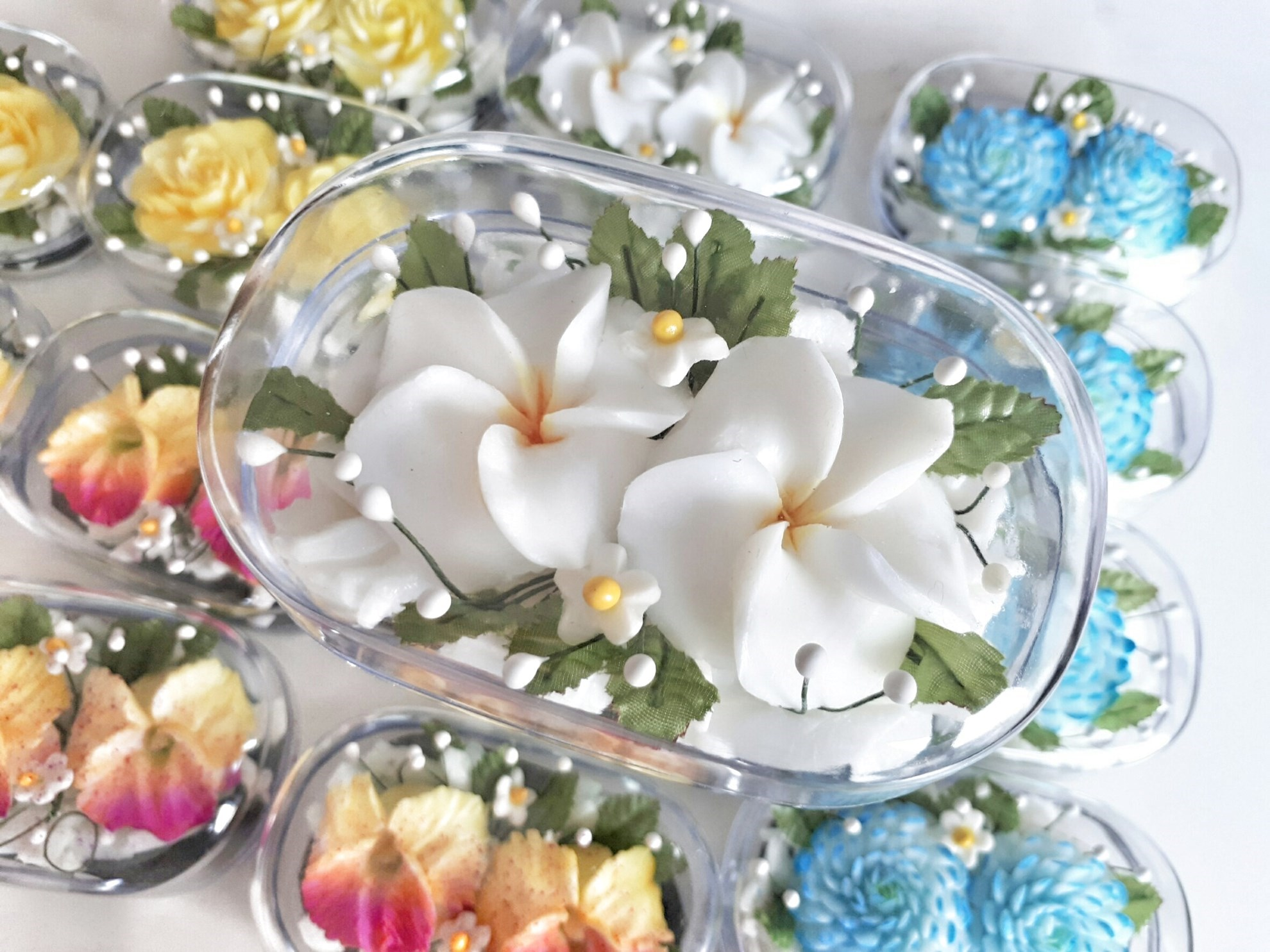 Double White Plumeria Hand Carved in Soap Bar with Jasmine Aroma ...