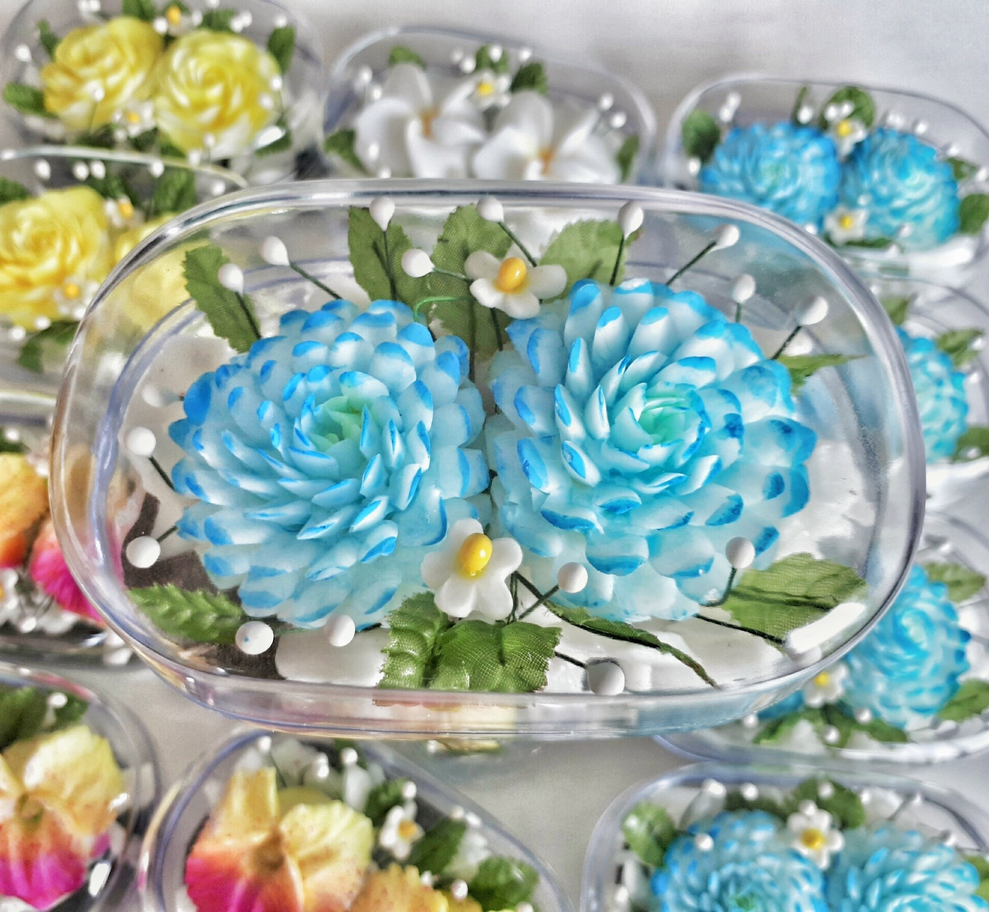 Double Blue Zinnia Flowers Hand Carved In Soap Bar With