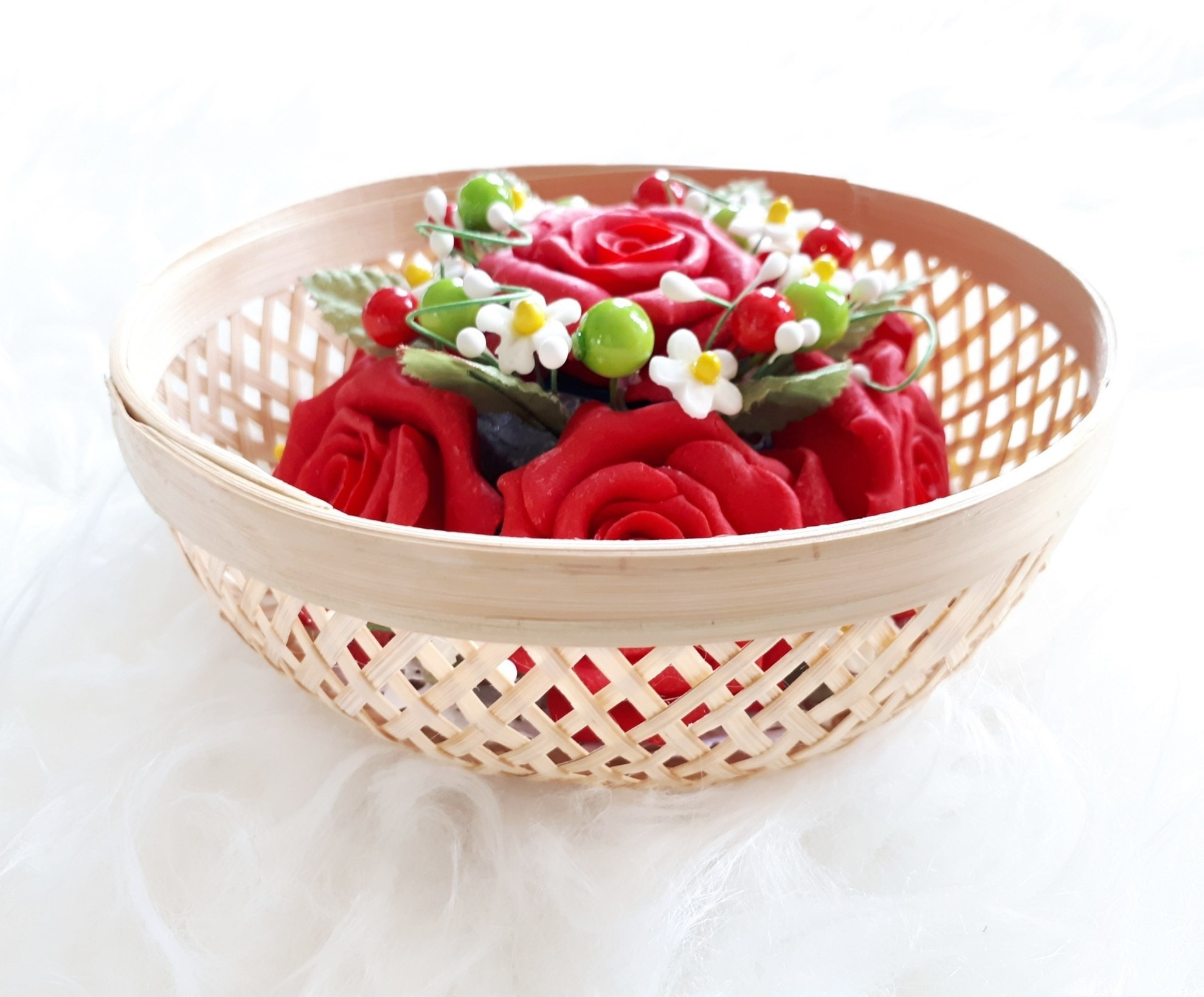 Picture of Red Roses Flower Bouquet for Home Decoration Handcrafted in Soap with Rose Aroma Essential Oil, Handmade Bamboo Bowl