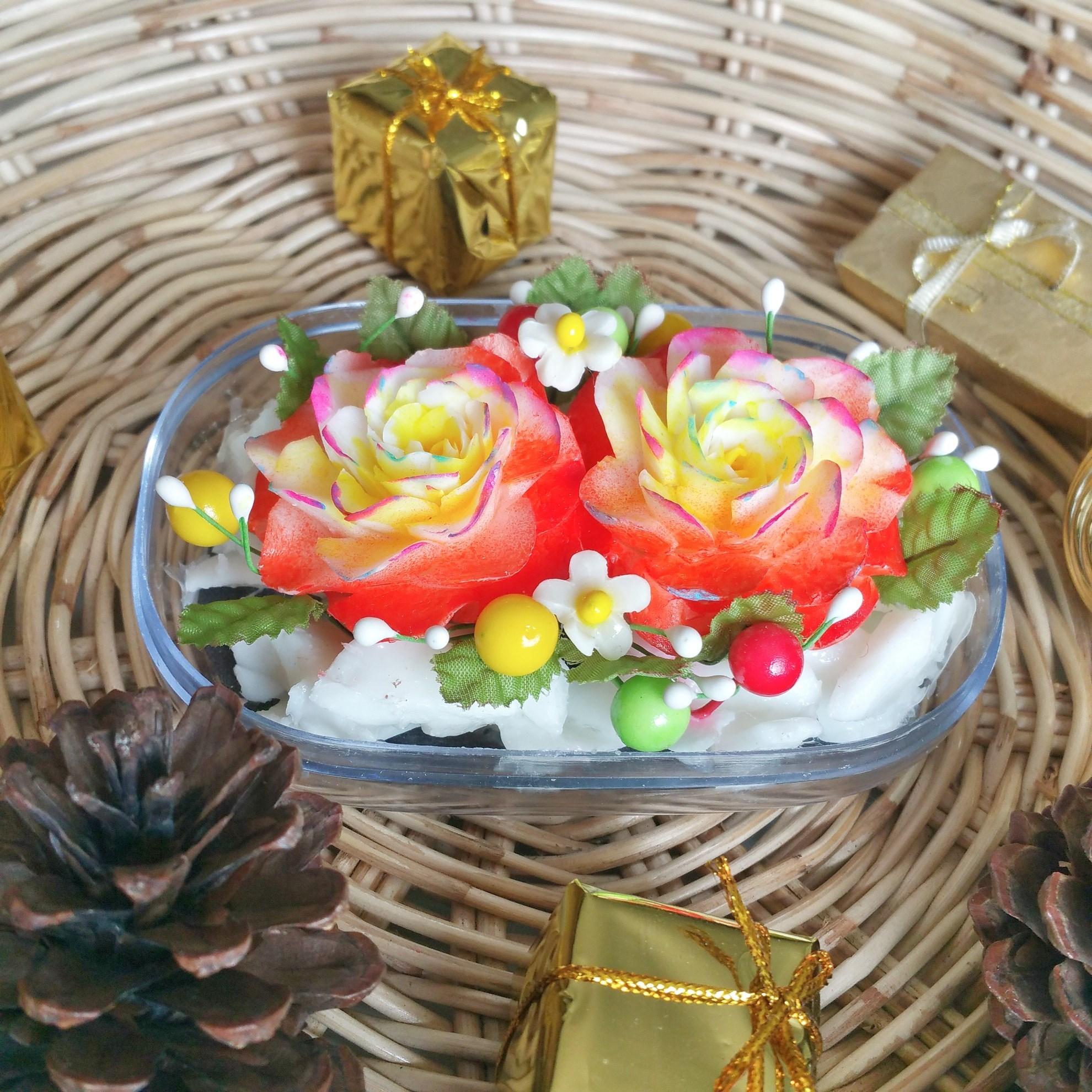 Orange festive flowers hand carved soap bar jasmine aroma