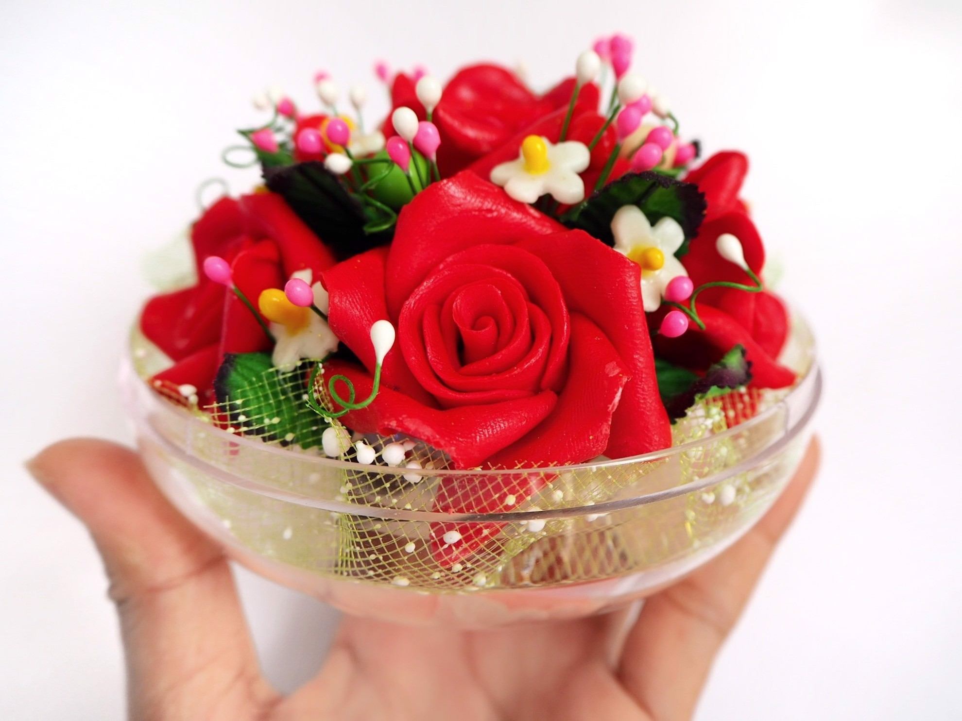 Picture of Red Rose Bouquet of Hand Carved Decorative Soaps with Rose Aroma Essential Oil Fragrance