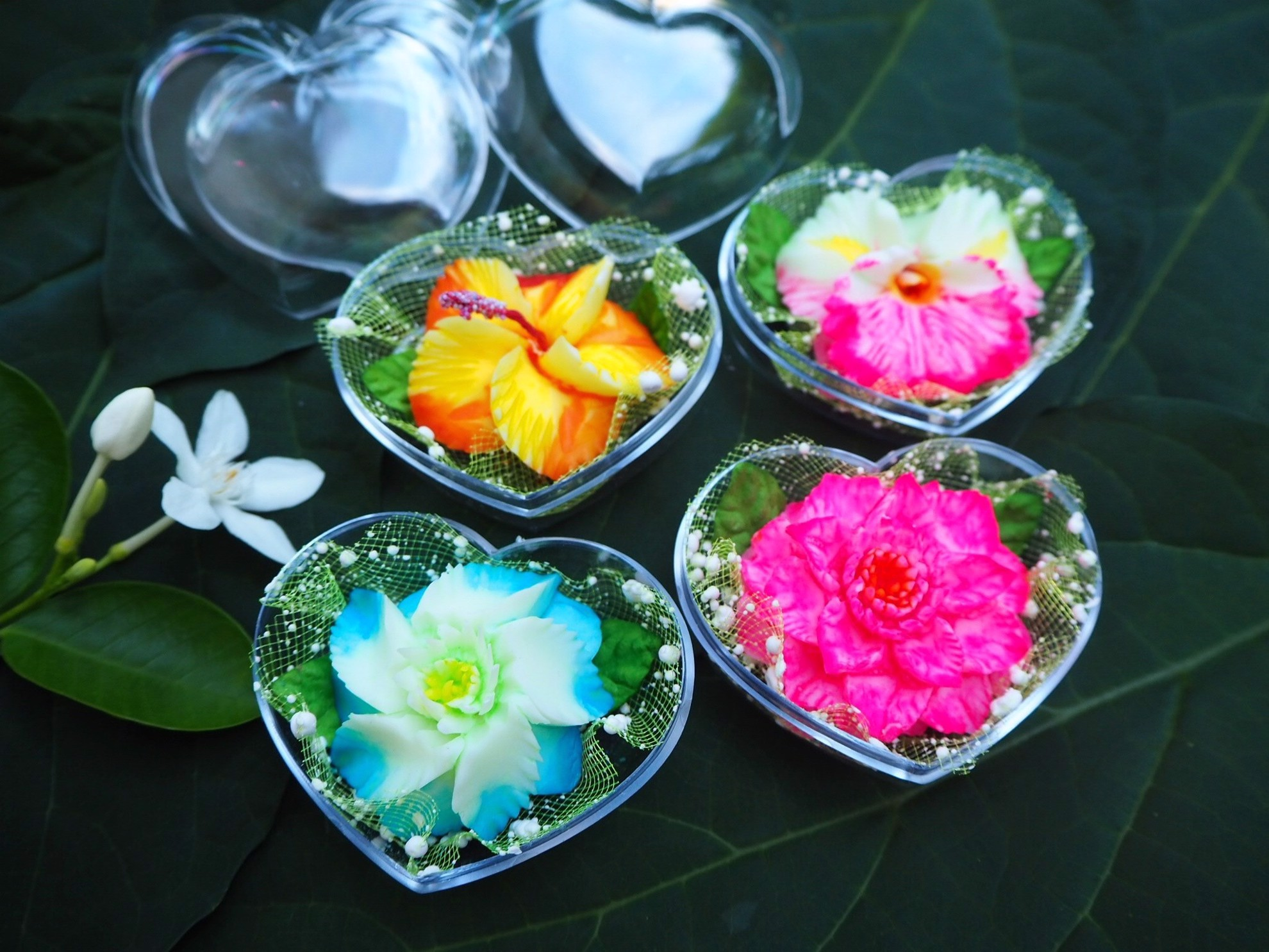 Picture of Bright & Colorful Thai Flower Decorative Soaps (4) Hand Carved, Jasmine Aroma Essential Oil, Scented Soap Carving