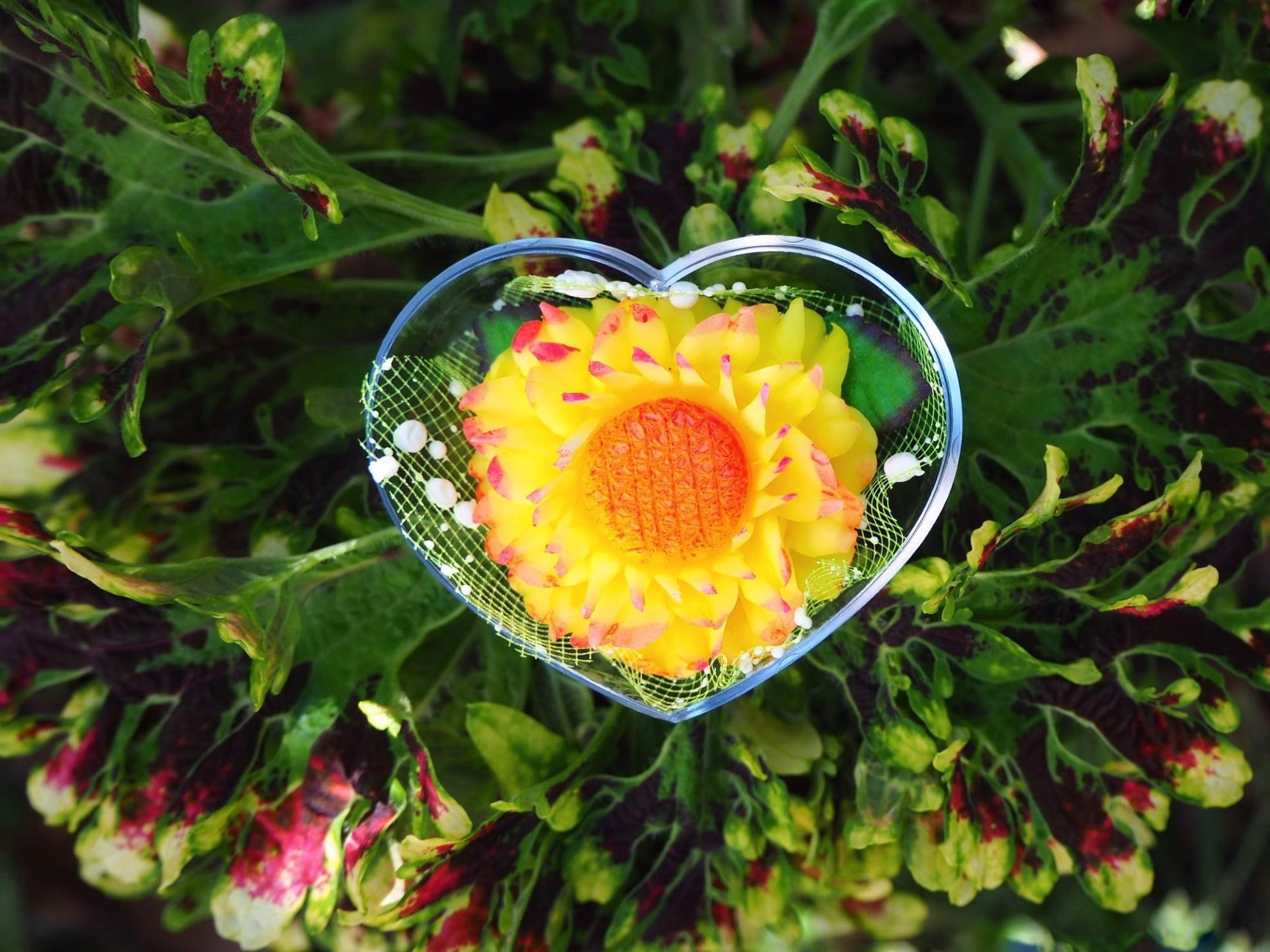 Image de Savons décoratifs de fleurs de soleil (4). Sculpture de savon