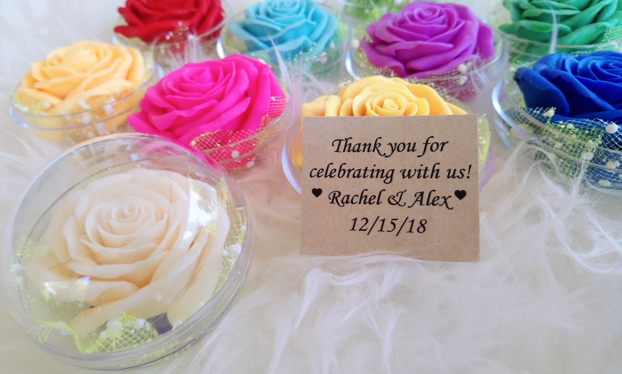 Picture of Wedding Favors Pack of Large Rose Flower Soap Carving, Rose Aroma Essential Oil, Handmade by Artisan, Personalized Message