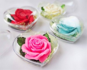 Picture of Rose Decorative Soaps (4) Hand Carved, Rose Aroma Essential Oil, Scented Flower Soap Carving