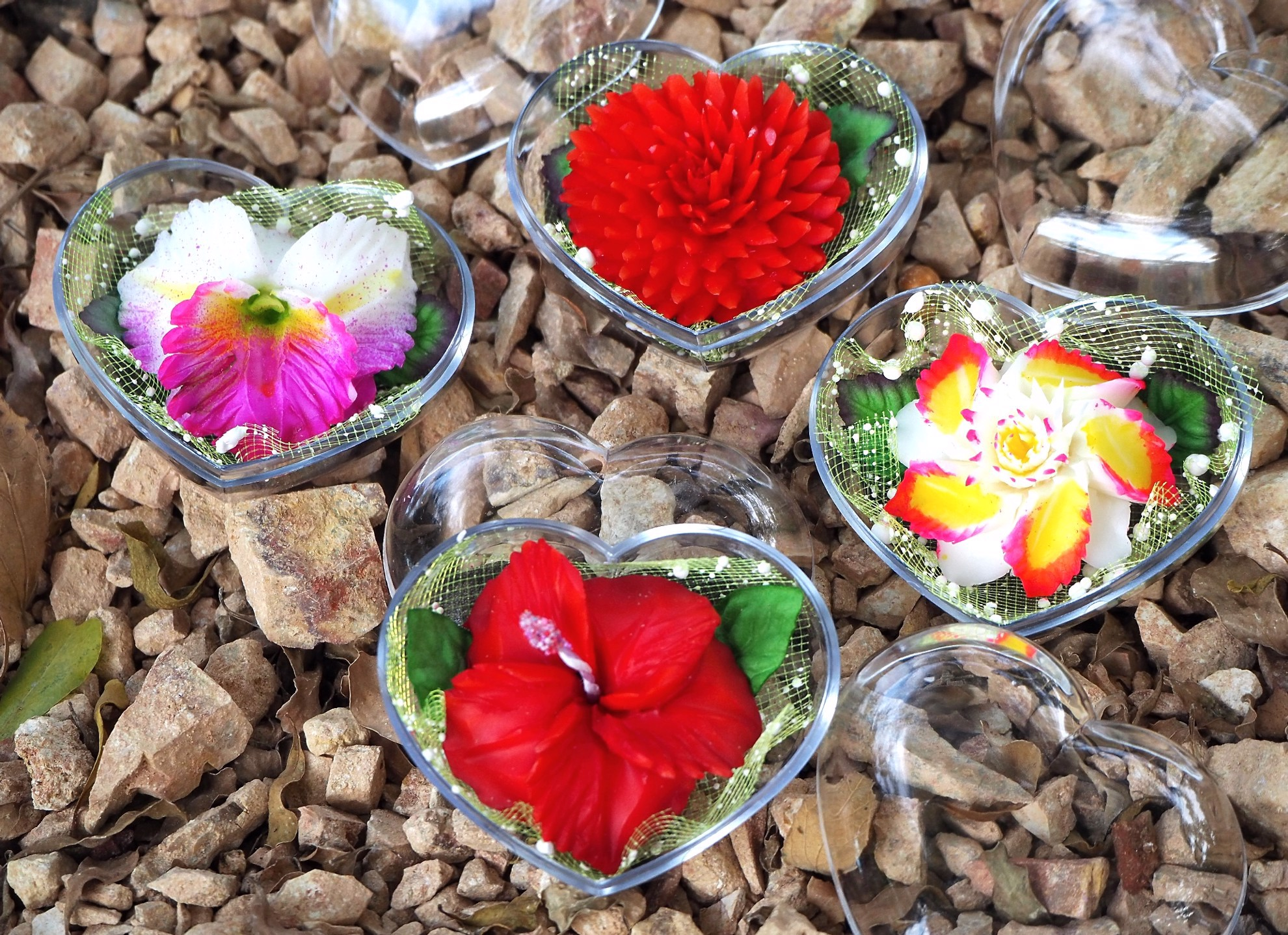 Picture of Thai Exotic Flower Decorative Soaps (4) Hand Carved, Jasmine Aroma Essential Oil, Scented Soap Carving