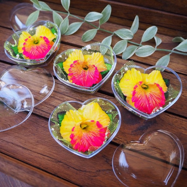 Picture of Yellow Orchids Decorative Soaps (4) Hand Carved, Jasmine Aroma Essential Oil, Scented Flower Soap Carving