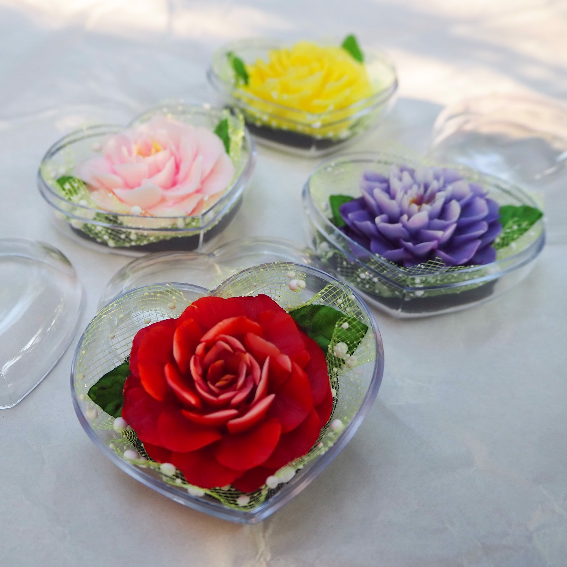 Picture of Blooming Flower Decorative Soaps (4) Hand Carved, Jasmine Aroma Essential Oil, Scented Soap Carving