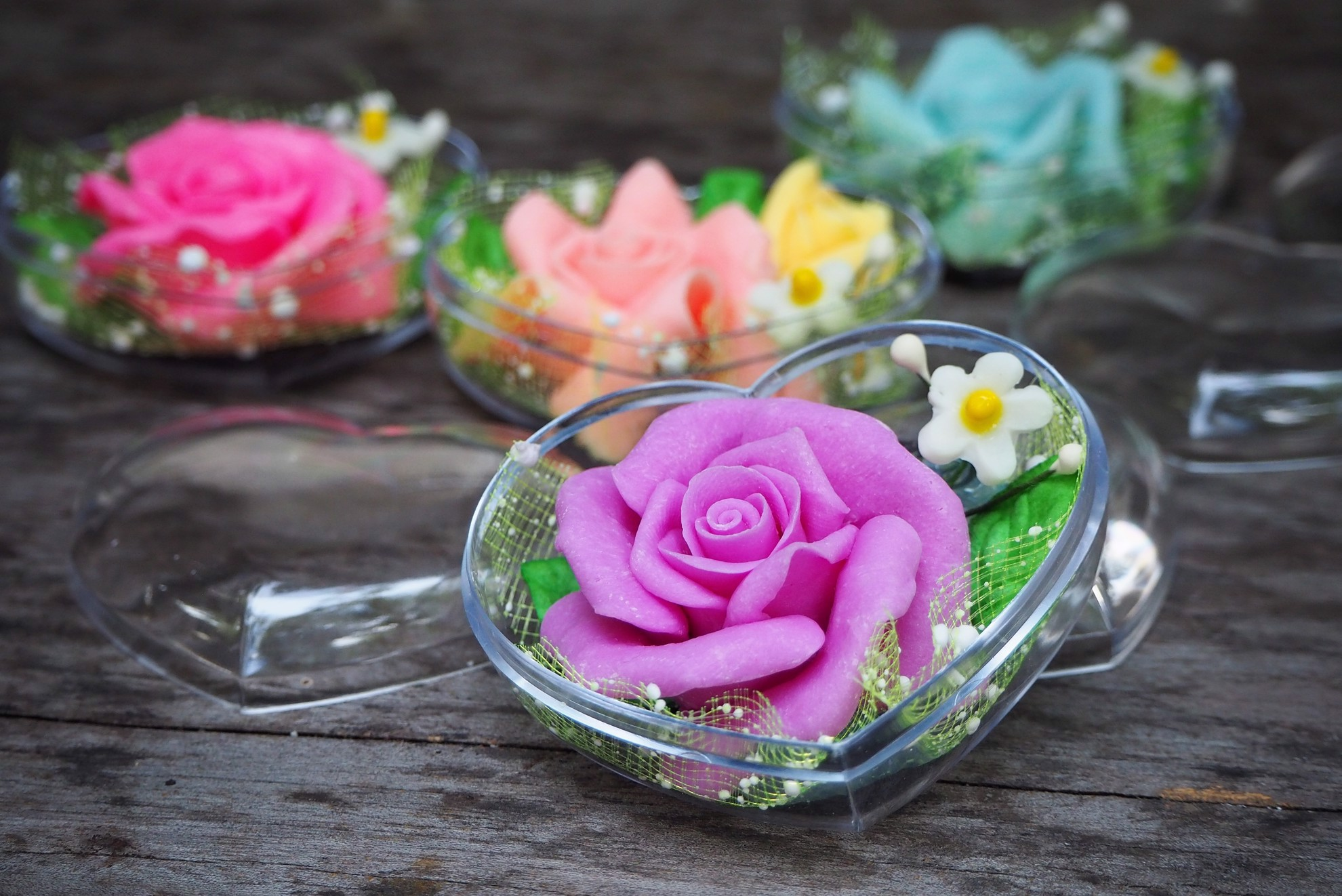 Picture of Rose Decorative Soaps (4) Hand Carved, Rose Aroma Essential Oil, Scented Soap Carving