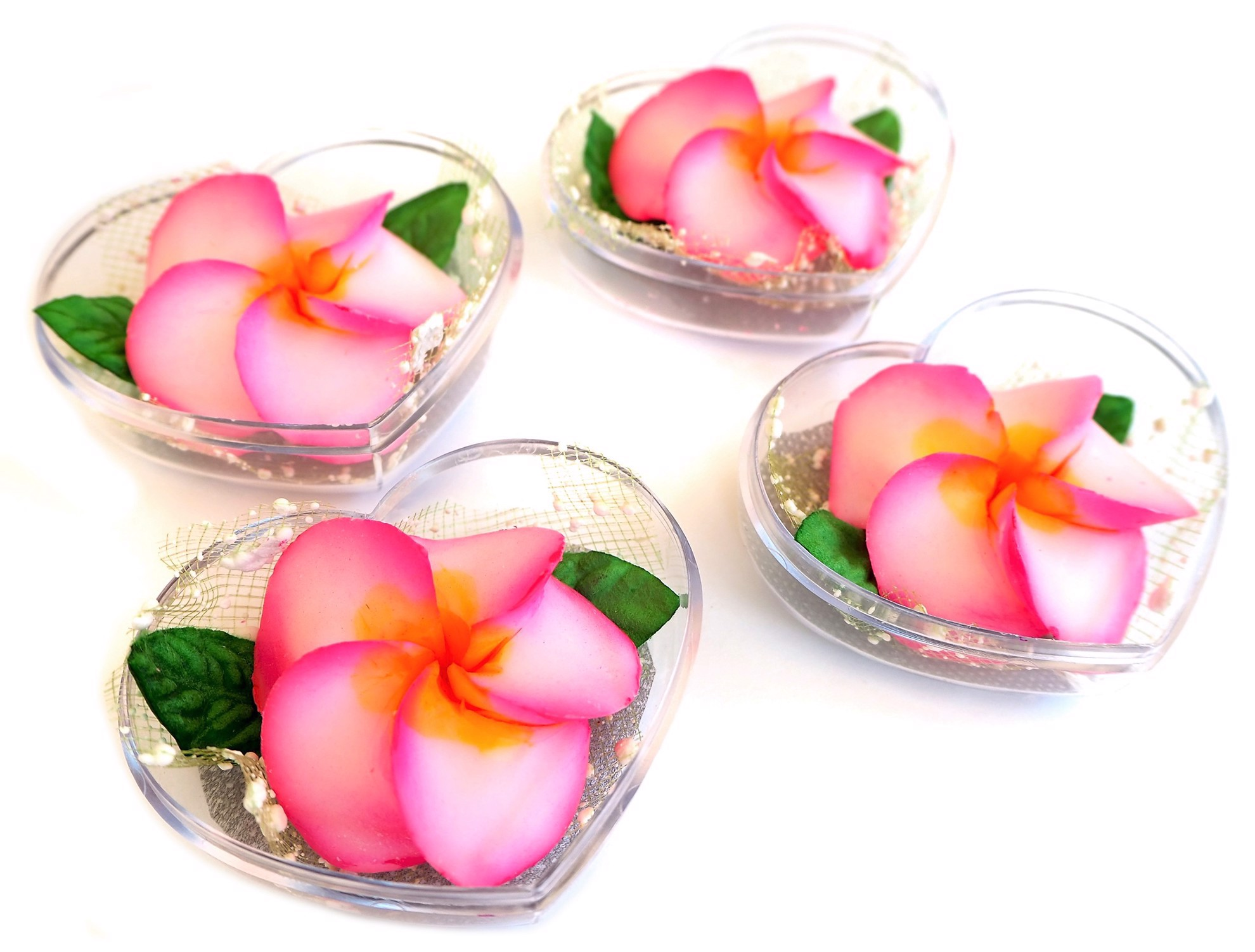 Picture of Plumeria White & Pink Flower Decorative Soaps (4) Hand Carved, Frangipani Aroma Essential Oil, Scented Soap Carving