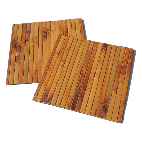 Picture of Squared Bamboo Placemats Set of 2 Heat-Resistant Table Mats 20cm - Brown