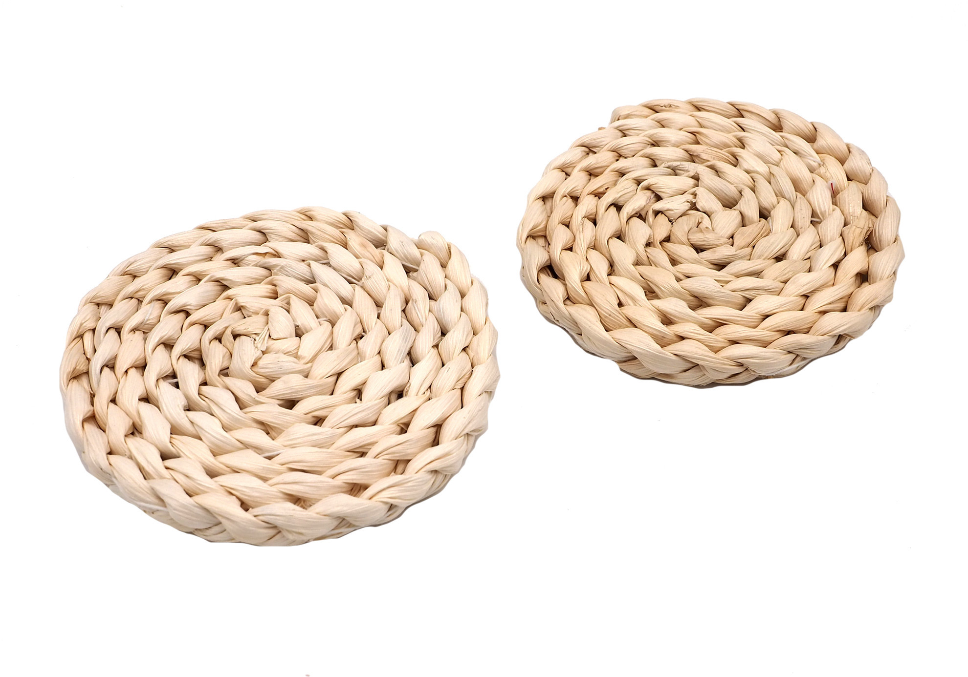 Picture of Round Placemats (2) Handmade from Natural Eco-Friendly Woven Corn Husk for Home Decoration. 4.4 inch (11cm)