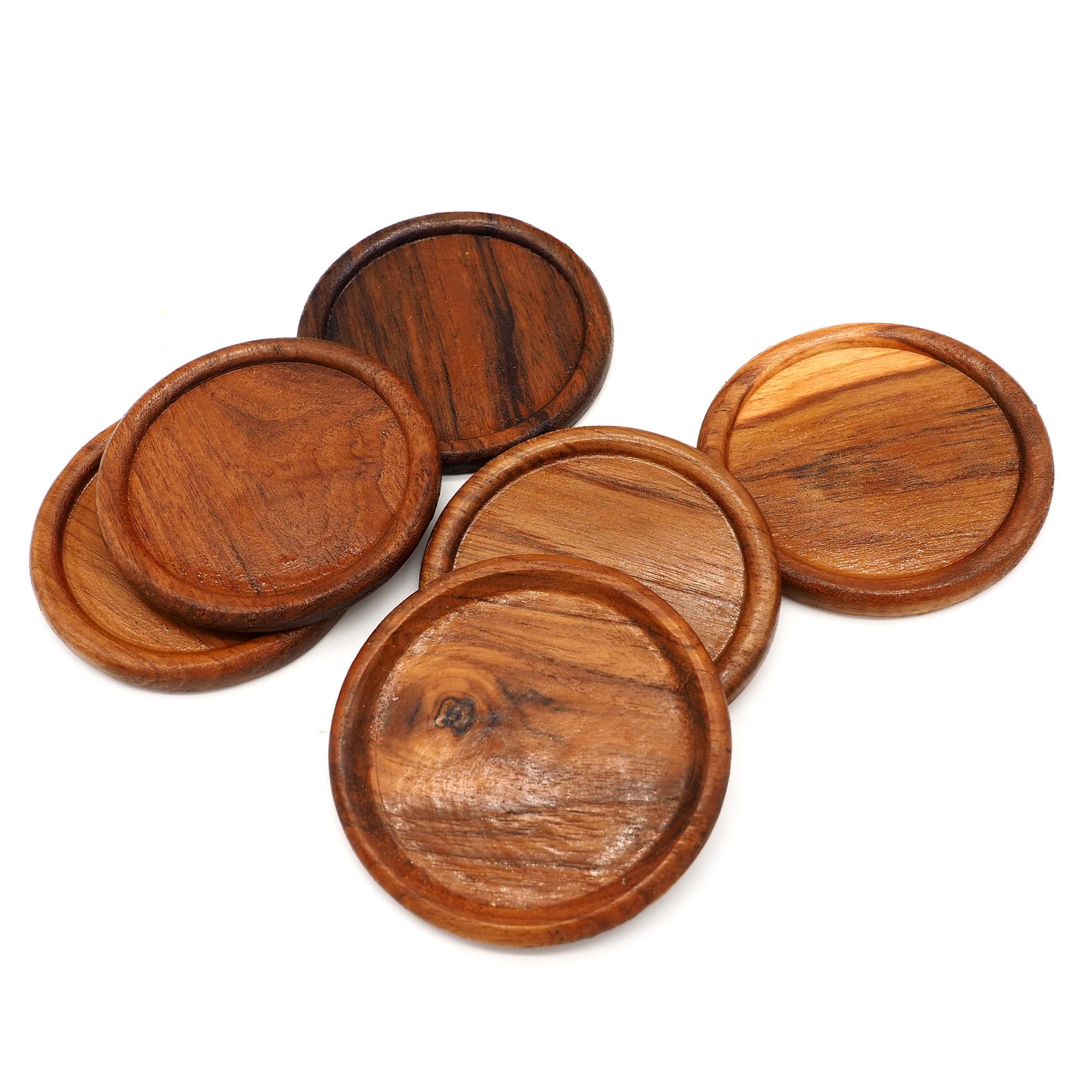 Picture of Teak Wood Coasters Set of 6, Round Shape 8.5cm