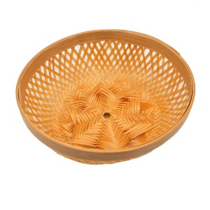 Image de Bamboo Basket Bowl, Light, Natural made and woven by hand 15cm