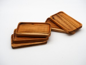 Image de 4 x Sous-verres rectangulaires en bois de teck 16 x 8,5cm