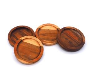 Image de 4 x Sous-verres ronds, dessous de verres, en bois de teck - 9,5 cm
